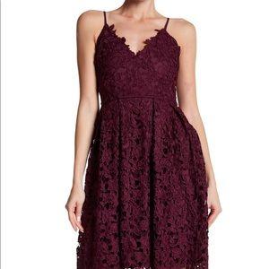 love...Ady lace midi dress in maroon